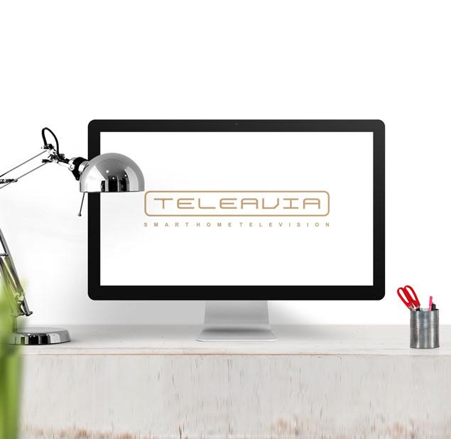 طراحی آرم شرکت تولید تلویزیون هوشمند Teleavia
